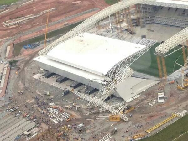 Sao Paulo Stadium Arena Corinthians, the stadium hosting FIFA World Cup 2014 opener has collapsed. 3 dead in accident