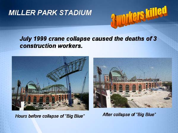 """the reasons for the big blue collapse of 1999 ¶7 july 14, 1999, was to be an exciting day in the construction of miller  on that  day, a crane known as """"big blue"""" was to lift a large piece of the  only if  mitsubishi either: (1) intended to cause the accident or injury or (2)."""