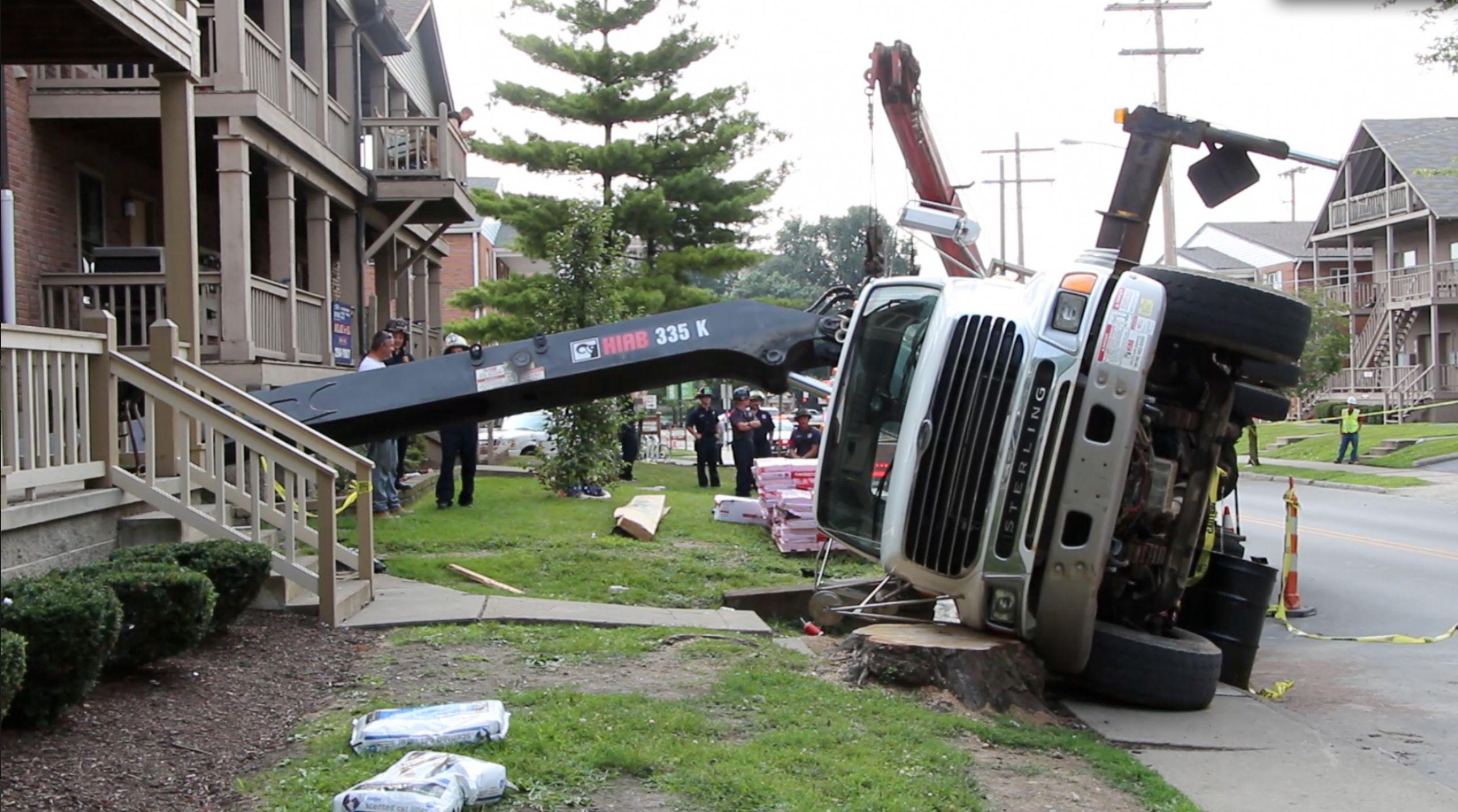 Hiab Crane Tips Onto Off Campus House Damages Property At