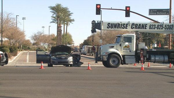 2 injured when crane truck hits car in chandler az for Department of motor vehicles chandler az