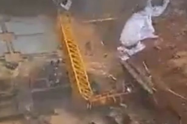 Huge Crane Collapse Caught On Camera As Heavy Rain And