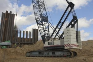 Toebe Construction using nine Terex HC series crawler cranes to construct six bridges and reconstruct seven more in the USA
