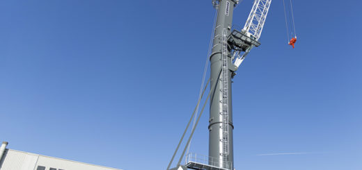 The new Liebherr mobile harbour crane LHM 600 high rise is ready for shipment from Rostock, Germany to Kingston, Jamaica