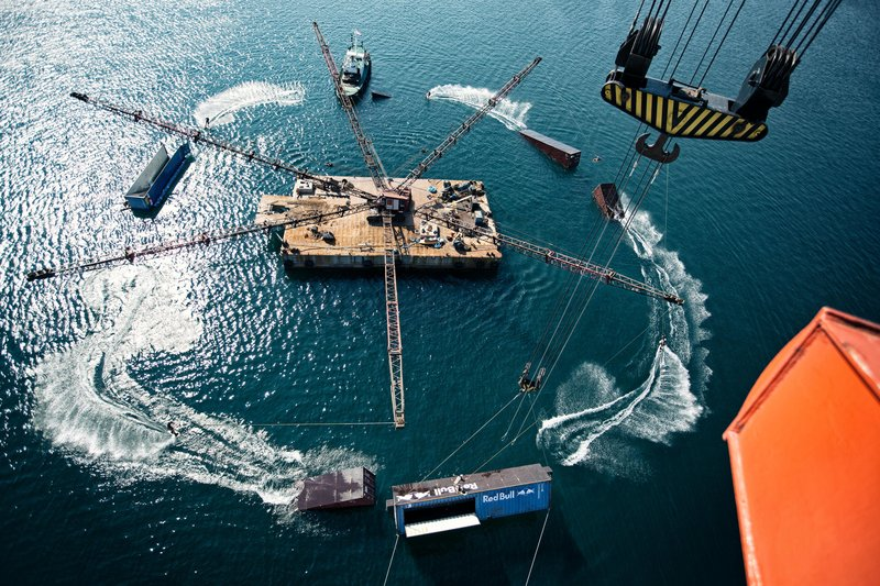 Felix Georgii wakeboarding full circle at Wake Crane Project in Pula, Croatia on September 24, 2016