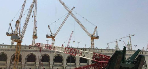 Image of the construction crane that crashed in the Grand Mosque in Mecca, Saudi Arabia September 12 2015