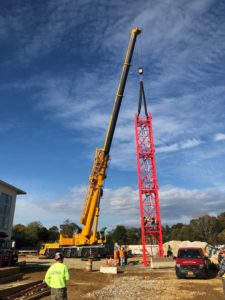 Wolffkran W8033.20-2 tower crane being erected on a hospital in Pennsylvania.